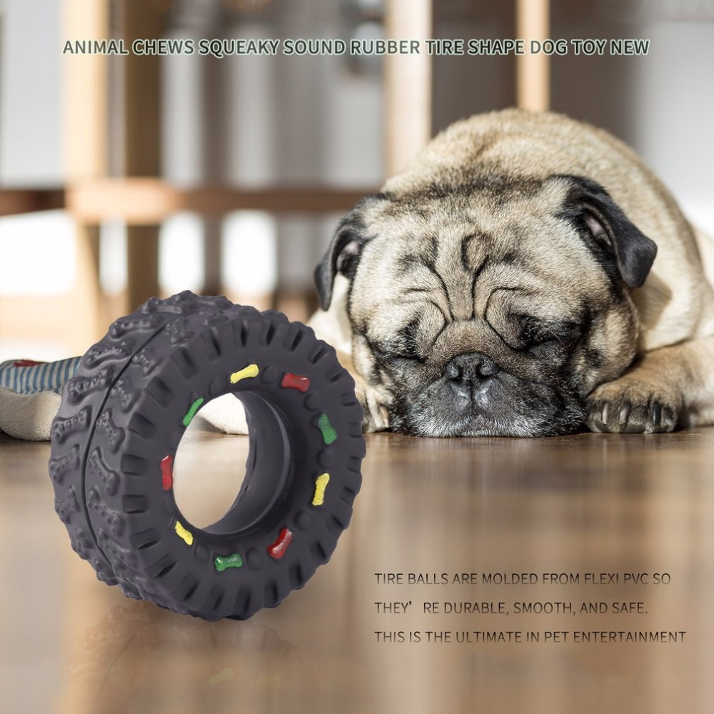1Pc Pet Dogs Tire Ball Animal Sounds Tire Balls Dog Toys Pet Dog Animal Chews Squeaky Sound Rubber Tire Shape Dog Toy Newest