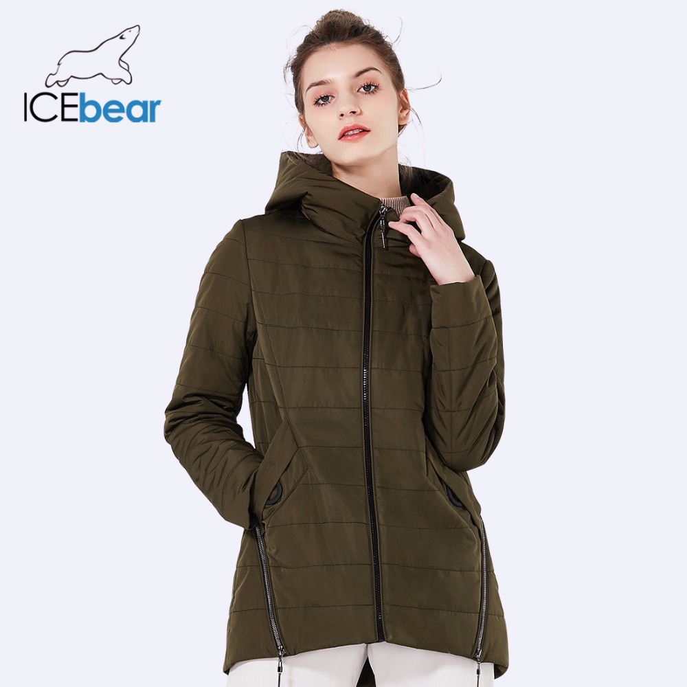 ICEbear 2018 new women's jacket spring woman coat fashion women's cotton denim color zipper design high-quality coats GWC18135D