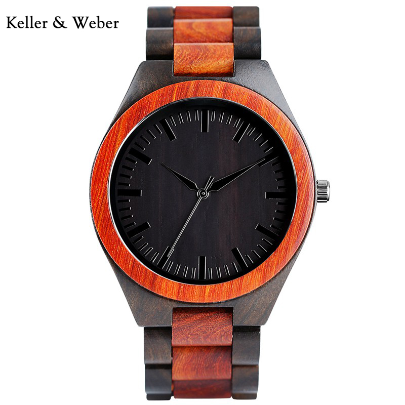 KW New Men's Wooden Bamboo Creative Wrist Watch Analog Quartz Movment Natural Outdoor Steampunk Clock Gifts relogio masculino