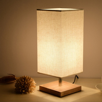 Vintage Led Night light with Fabric Lampshade Wood Table/Desk Lamp for Bedroom Baby Room Children kids Study Reading E27 220V