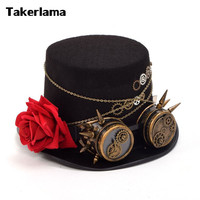Takerlama Vintage Steampunk Gear Glasses Floral Black Top Hat Punk Style Fedora Headwear Gothic Lolita Cosplay Hat Unisex Hat