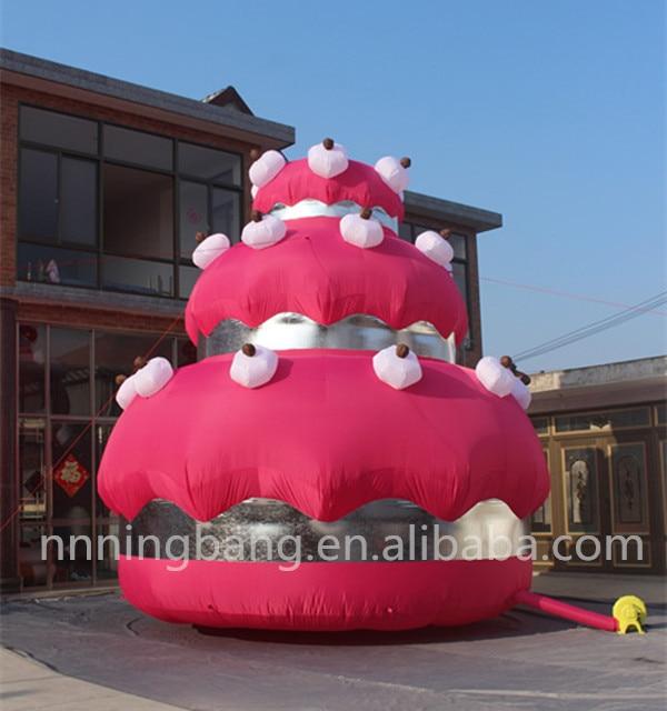 Gratis verzending giant 5 m hoge opblaasbare taart voor verjaardagsfeestje decoratie - 2