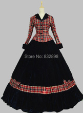 Civil War Ball Gown Dress Tartan Velvet Reenactment Theatre Wear Stage Ball Gowns