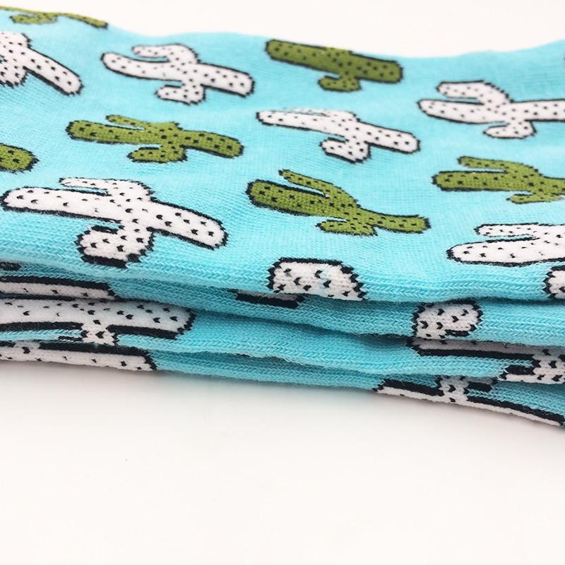 New Fashion Cotton Socks Woman Cactus Printed Crew Long Socks Harajuku Socks Euro 37-42