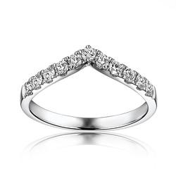 VS G F stałe 10 k białe złoto pierścionek zaręczynowy Wedding Band Moissanites rocznica Party Fine Jewelry V kształt klasyczny genialny