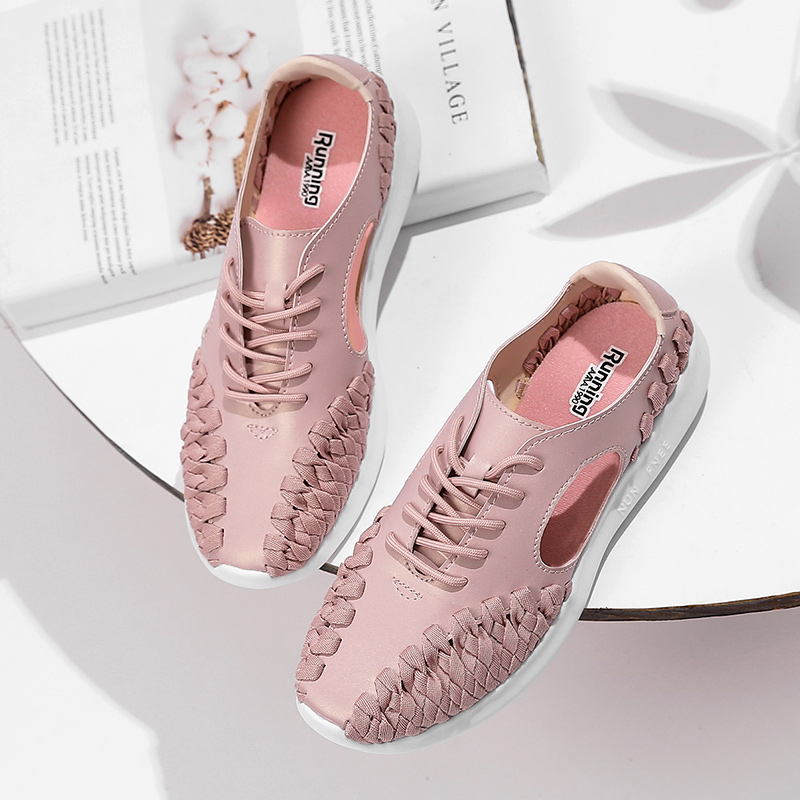 Pink Leather Woven Women Running Shoes Breathable Hollow Outdoor Sports Jogging Walking Shoes Zapatillas Deporte Mujer Sneakrs