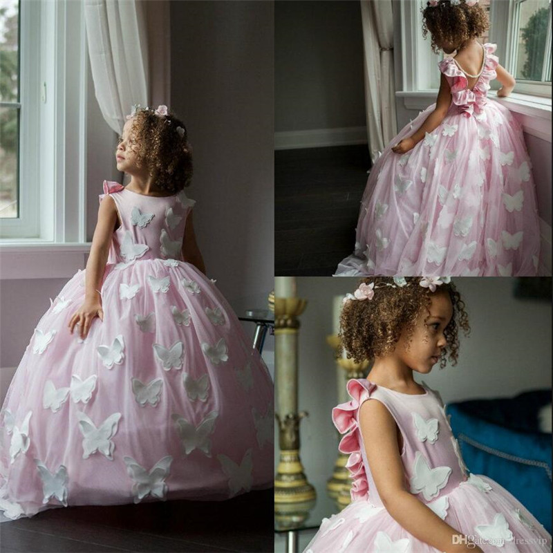 Lovely   Flower     Girl     Dress   with Handmade Butterfulies Pearls Train V-Back Puffy Tulle   Girls   Pageant Gowns Cheap Kids Formal Wears