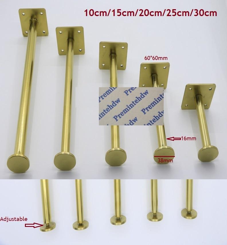 2Pcs/Lot Slim Stainless Steel Gold North European Furniture Bath Dressing TV Cabinet Coffee Adjustable Feet Leg Leveling Lever