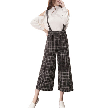 Women Spring Strap Wide Leg Pants 2017 Fashion Loose Bell Bottom Plaid Pant Ladies Office Solid Black High Waist Trousers S-XL kleider weit