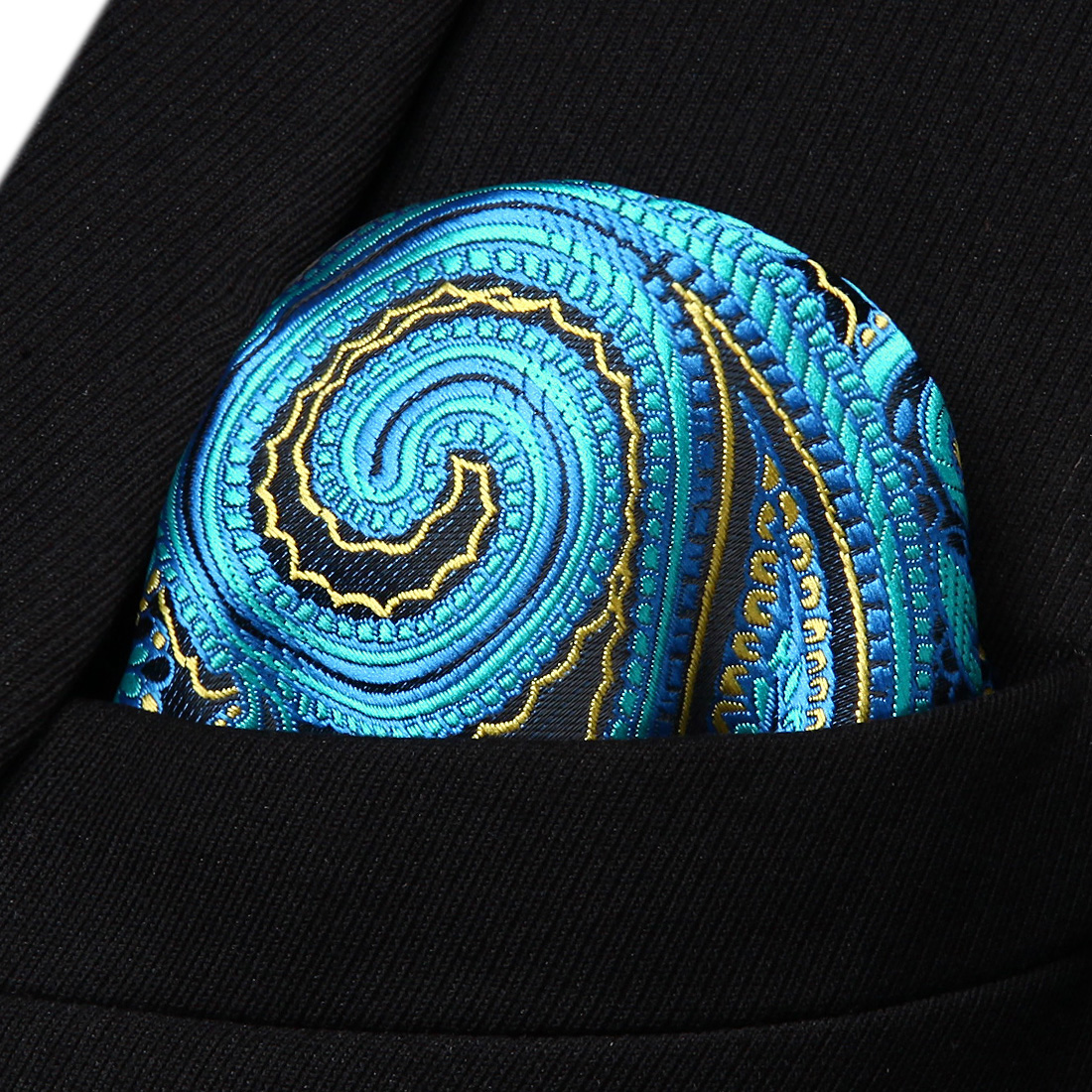 HP933B Blue Yellow Red Paisley Men Silk Party Handkerchief Pocket Square Hanky