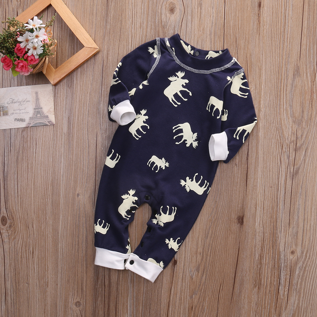 Fashon Newborn Infant Baby Girl Boy Moose Deer Long Sleeve Cotton Romper One-pieces Xmas Outfits Christmas 8