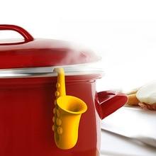 Предотвращение перелива практичные Кухонные гаджеты Рог саксофон горшок Чехлы против перелива подъемная суповая ложка полка держатель ложка подставки