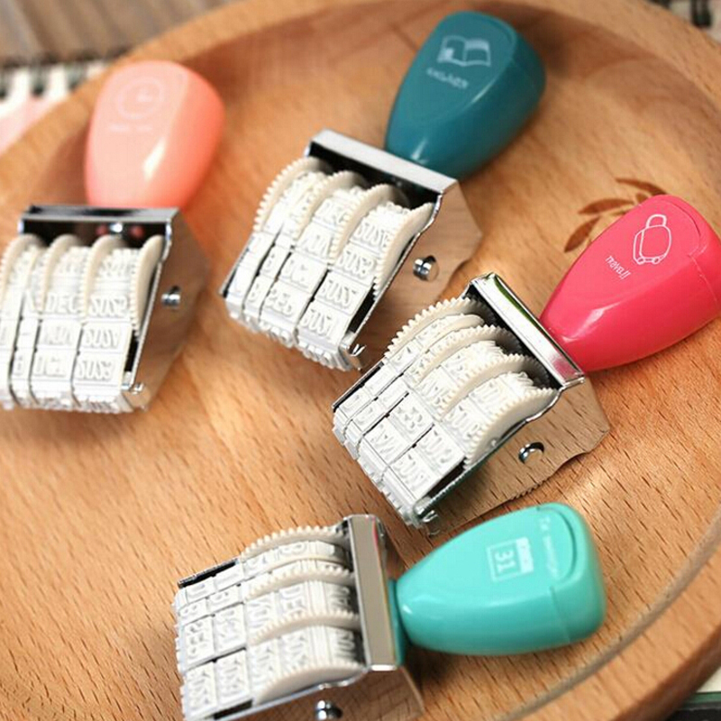 Free Shipping 1 Pieces Date Stamps School Office Supplies DIY Student Children Art Rolling Stamp Fashion Business Stationery