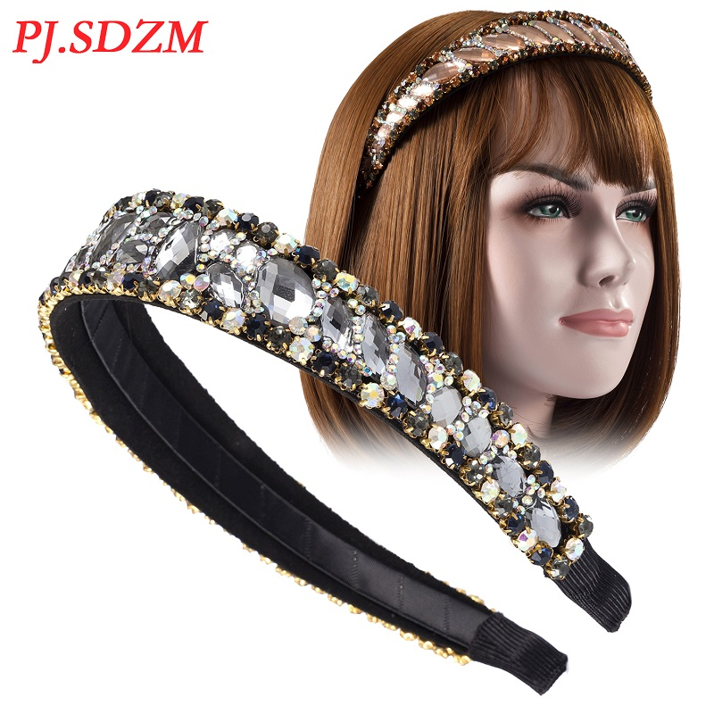 Korea Diamond Female Hair Accessories Rhinestone Luxury Headband High-end New Fashion Hairband Women Girl Head Hoop FG0035
