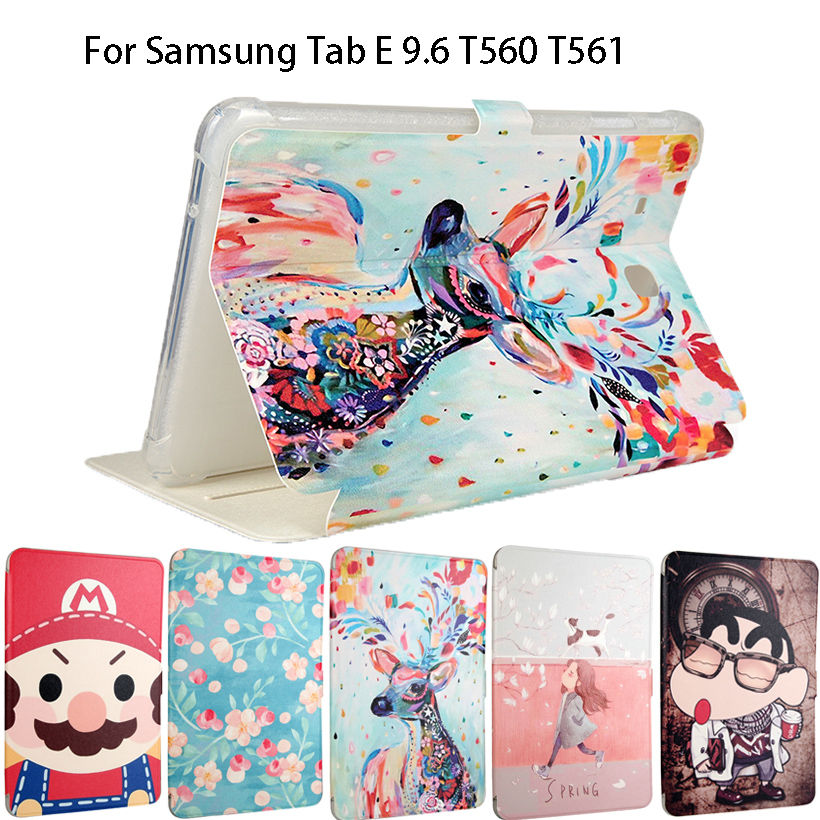 Fashion Painted Silicone Leather Cover Case For Samsung Galaxy Tab E 9.6 T560 SM-T560 T561 Smart Cover Funda Auto Sleep/Wake up планшет samsung galaxy tab e sm t561 sm t561nzkaser