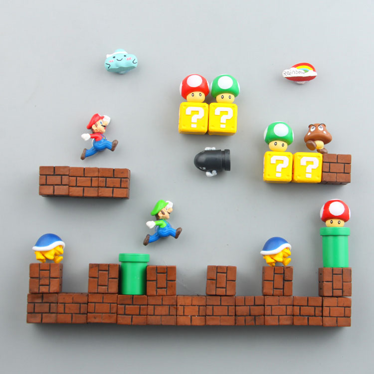 Mini Super Mario imanes de nevera juguetes figuras Set decorativo Luigi bomba sapo refrigerador Bowser ladrillo juguetes estatuilla