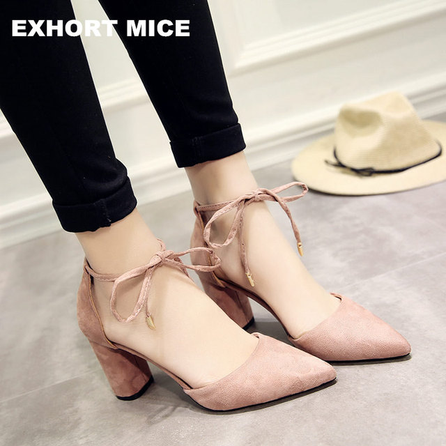 Summer Women Shoes Pointed Toe Pumps Dress Shoes High Heels Boat Shoes Wedding Shoes tenis feminino Side with Straps 8