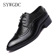 SYWGDC Men Dress Shoes Italian Luxury Brand Brogue Shoes Male Lace Up Pointed Toe Bullock Oxford Shoes Casual Wedding Big Size48 mycolen fashion bullock carve mens dress shoes men pointed toe lace up men s business casual shoes scarpe classiche uomo punta