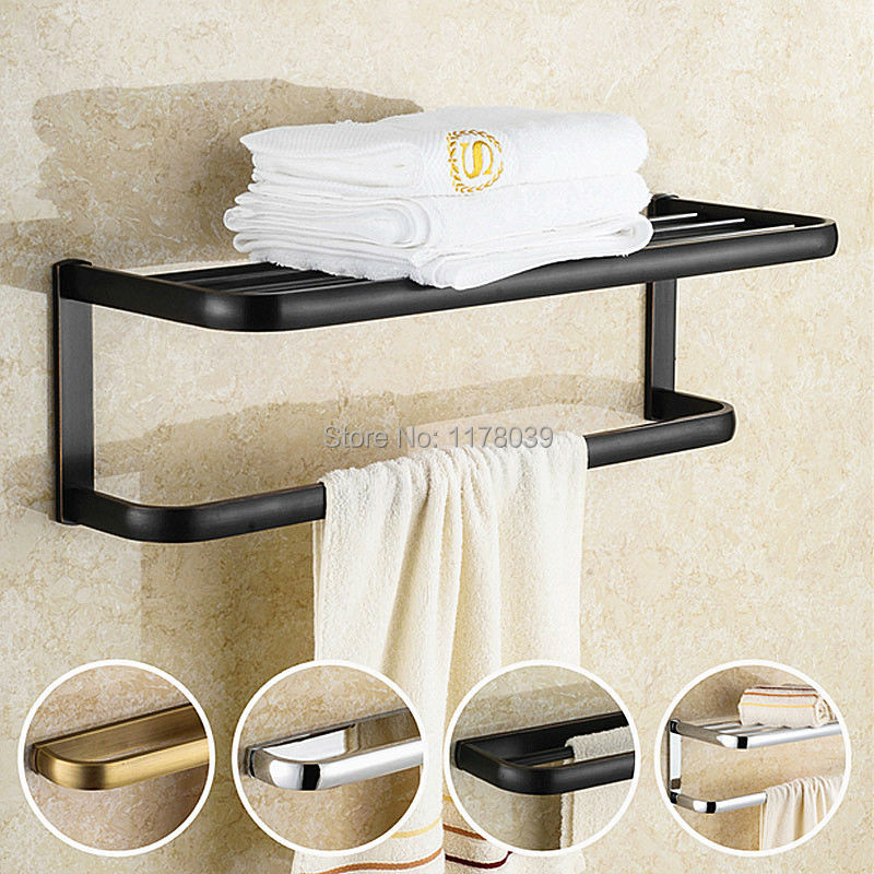 Wall Mounted Antique Silver Black Towel Racks Brass Towel