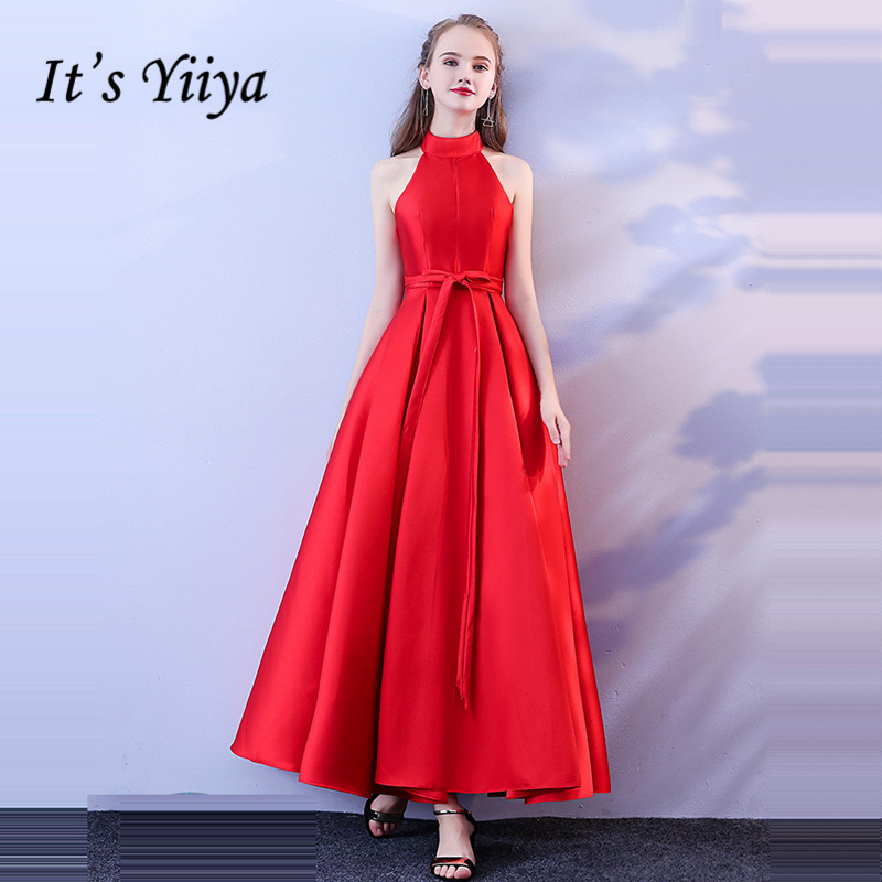 It's YiiYa   Prom   Gowns Red Hatler Simple Cheap A-line Ankle-length 2019 Custom Plus size Lace up Back Long   Prom     Dresses   LX720
