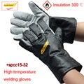 CASTONG изоляция 300 градусов сварочные перчатки кожа + изоляционное покрытие защитные перчатки сварочные газовые защитные перчатки