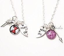 6pair/lot Clint Natasha BFF Necklaces Marvel Jewelry Clintasha Hawkeye Black Widow OTP BFF Friendship Jewelry Partners in Crime