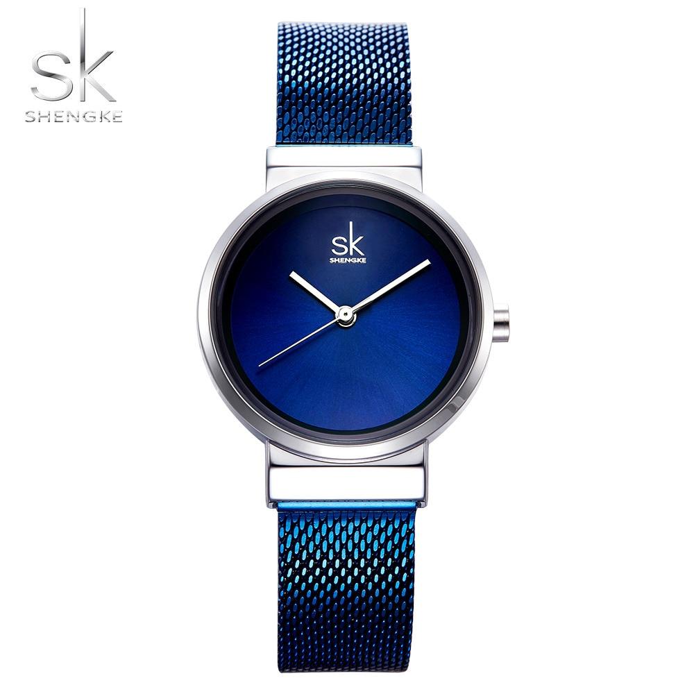 2018 SHENGKE New Women Watches Blue Mesh Strap Luxury Design Quartz Watches Ladies Fashion Watch Relogio Feminino Gift For GirlWomens Watches   -