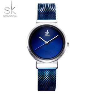 Image 1 - 2018 SHENGKE New Women Watches Blue Mesh Strap Luxury Design Quartz Watches Ladies Fashion Watch Relogio Feminino Gift For Girl