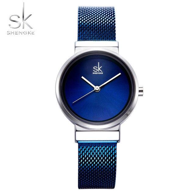 2018 SHENGKE New Women Watches Blue Mesh Strap Luxury Design Quartz Watches Ladies Fashion Watch Relogio Feminino Gift For Girl