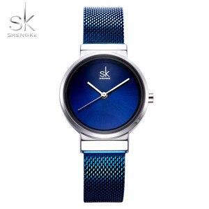 Image 1 - 2018 SHENGKE новые женские часы синий сетчатый ремешок роскошный дизайн кварцевые часы женские модные часы Relogio Feminino подарок для девочки