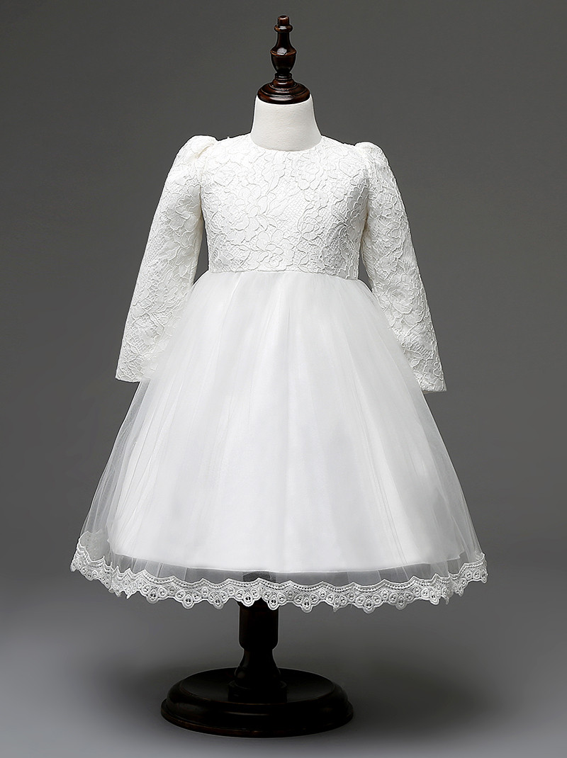New Girls Dresses Wedding Party Summer Princess Dress Baby White Dress Girl CB7E