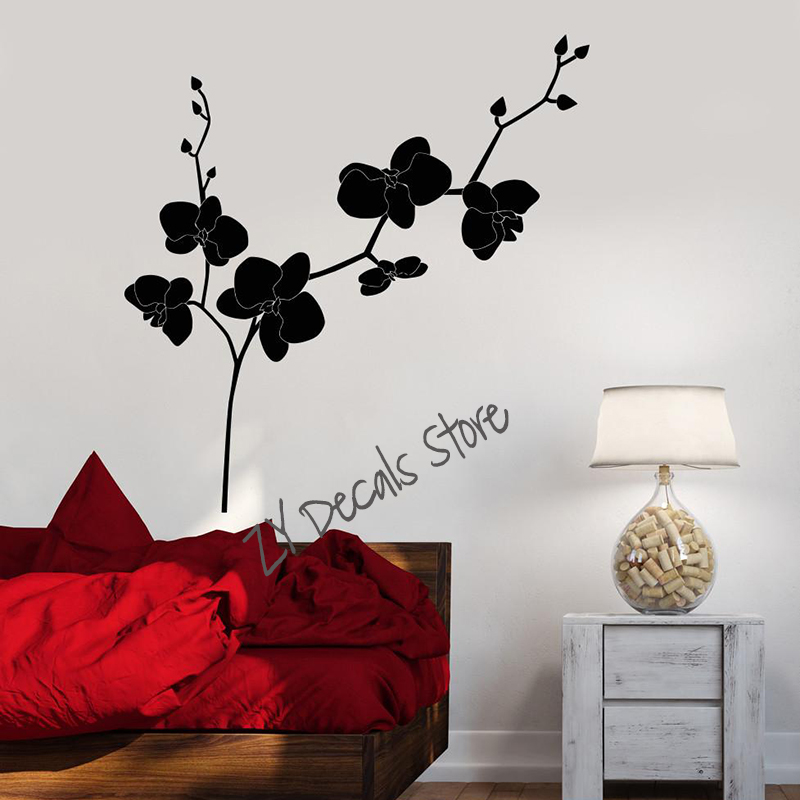 Orchid Vinyl Wall Decal Flower Shop Floral Bedroom Design Stickers Removable Art Mural Home Decoration Bedroom Living Room L661