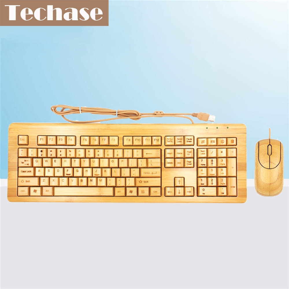 Techase Wired Mouse and Keyboard Combo USB Standard Bamboo Teclado Mecanico Խաղի մկնիկի խաղային հավաքածու Teclado Y Raton Inalambrico PC