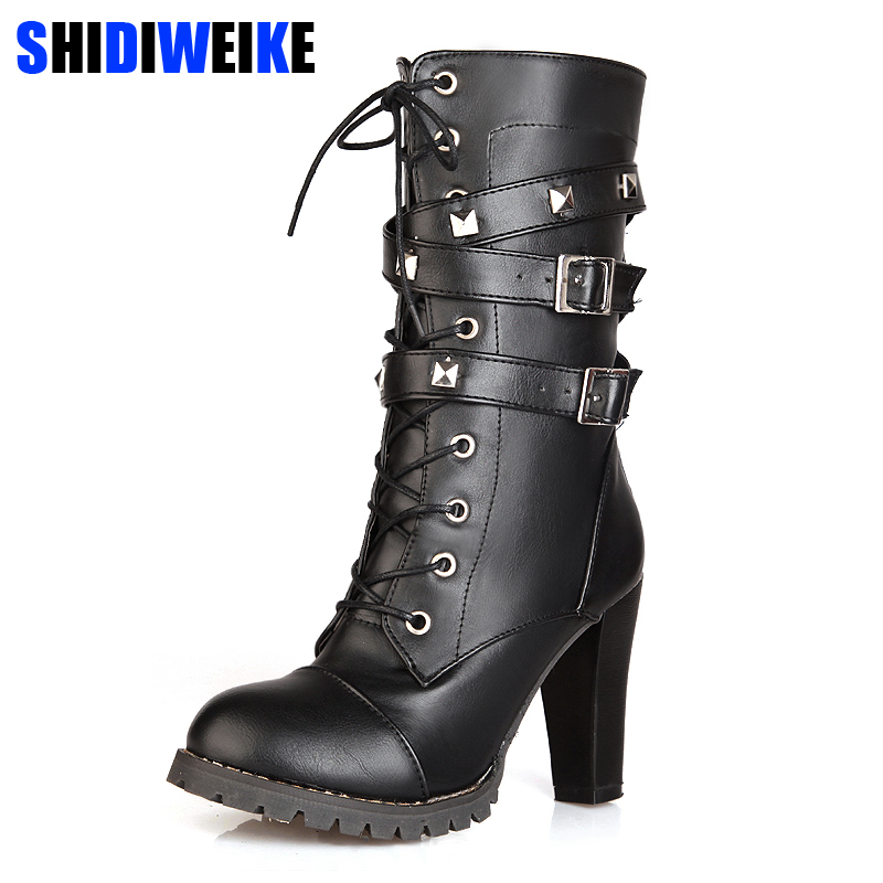 Ladies Shoes Women Boots High Heels Platform Buckle Zipper Rivets Sapatos Femininos Lace Up Leather Boots Size 34-43 N203