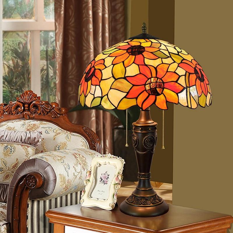 40CM creative color glass living room dining room table headlamp American sunflower desk lamps 110-260V e27 Resin base rose base