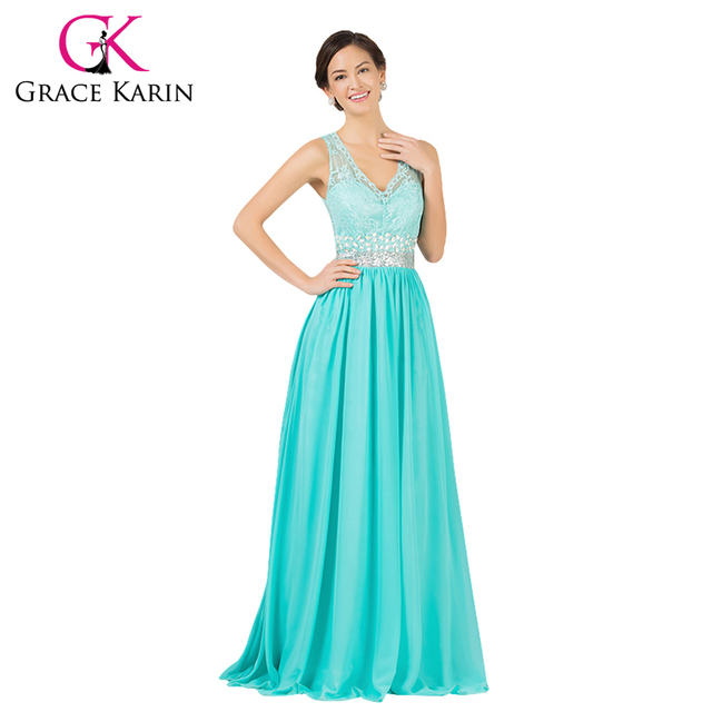 b59ebece8 Gracia Karin elegante de encaje de gasa Backless turquesa vestido de noche  largo doble cuello en
