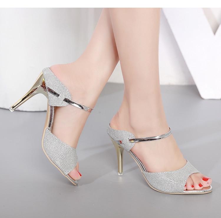 LAKESHI Summer Women Pumps Small Heels Wedding Shoes Gold Silver Stiletto High Heels Peep Toe Women Heel Sandals Ladies Shoes 16