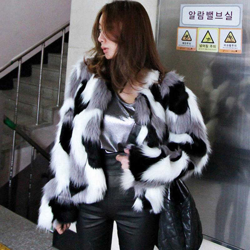 Winter New Imitation Fur Jacket Coat Big size Women's Loose Round Neck Short Ladies Mixed Color Coat Size XS-6X Outerwear