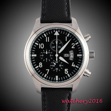 42mm parnis black dial gun big week vintage style day date quartz Full chronograph mens watch