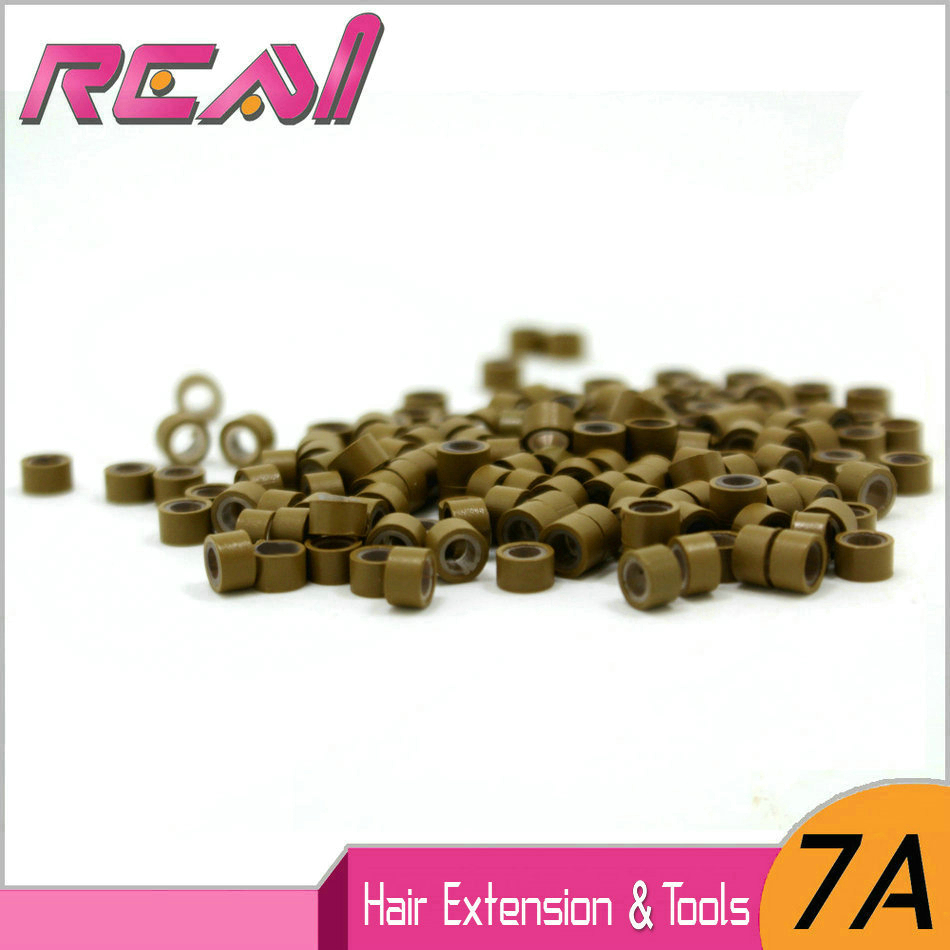 FREE SHIPPING 2000pcs 5.0mm Aluminium+Silicone Micro Rings Links Beads for Feather Hair Extensions 200pcs/JAR
