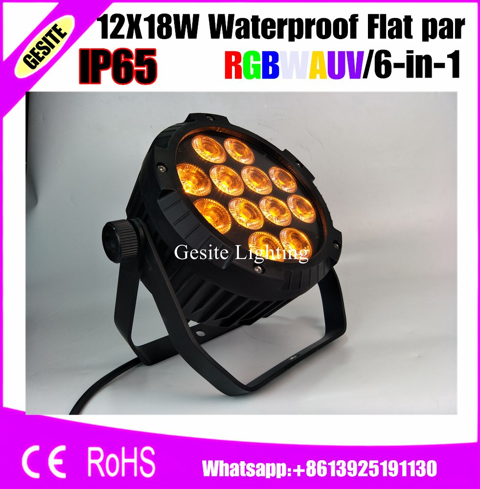 6pcs/lot waterproof 12x18W RGBWA UV Par64 Light Stage Led Par Cans