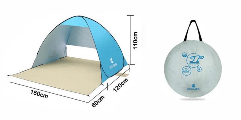 Upf protection UV Beach Camping Festival Tente zippé homme abri solaire 2 personne