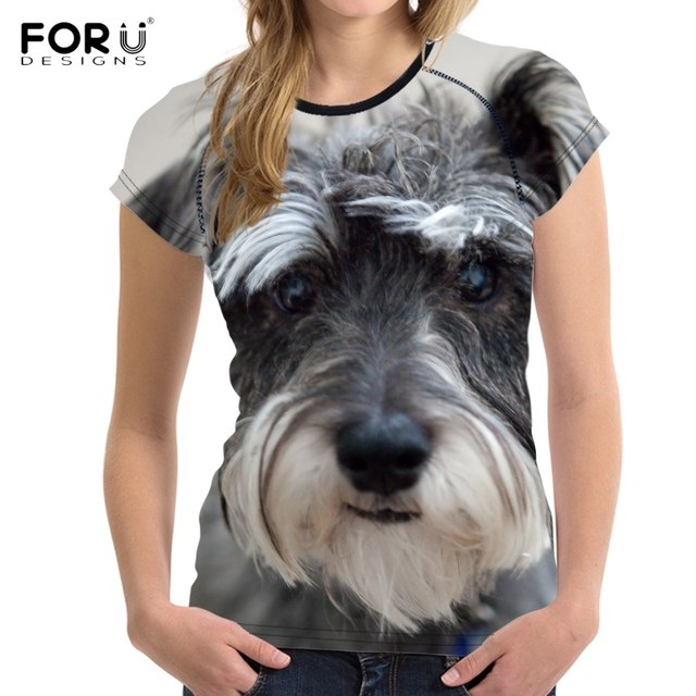 c21d6539 FORUDESIGNS Cute Dog Schnauzer Printed T Shirt Women Stylish Breathable  Short Sleeve Top Clothes Brand Fitness O Neck T-shirts
