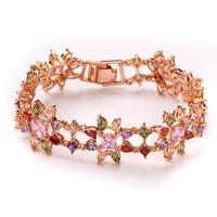 FYM Fashion Rose Gold Color Flower Shape Women Bracelet AAA Zircon Crystal Bracelet Femme Bracelets For