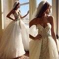 Cristal de lujo Vestidos de Boda Con El Tren Desmontable Appliqued Con Cuentas Alto Bajo Vestido de Novia Con Falda Desmontable robe de mariage