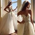 Luxo Cristal Vestidos de Casamento Com Destacável Train Appliqued Frisada Alta Baixa Vestido De Noiva Com Removível Saia robe de mariage