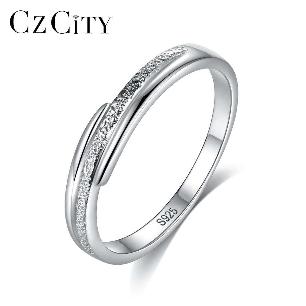 CZCITY New Arrival Authentic 100% 925 Sterling Silver Female Engagement Ring For Women Bride Simple Classic Finger Ring SR0453