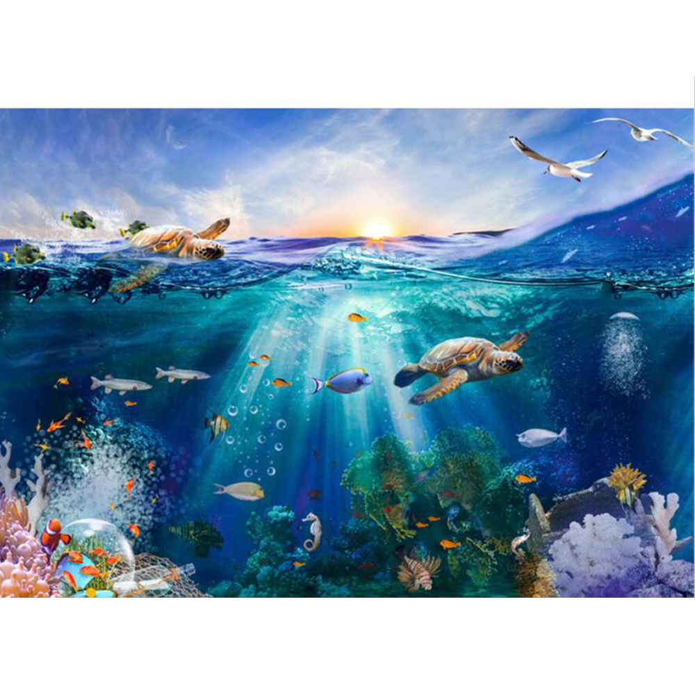 Under the Sea Backdrop Photography Printed Sunrise Turtles Fishes Fantasy Underwater World Party