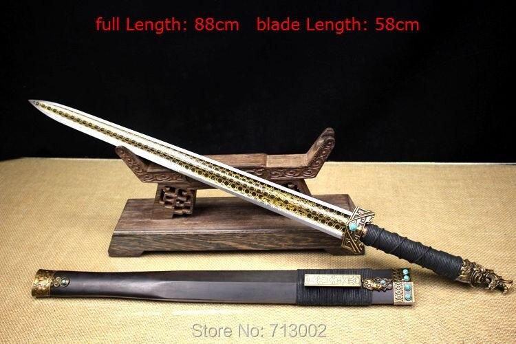 Agressief Handgemaakte Chinese Han Zwaard Wushu Zwaard Mangaan Staal Blade Volledige Tang
