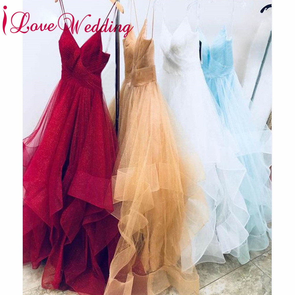 iLoveWedding 2019 New Arrival Wine Red   Prom   Gown Custom made Ruffles Sexy Spaghetti Elegant Long   Prom     Dresses